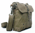 "Virginland ""T-Shirt & Jeans"" Compact Canvas Messenger Bag - Grey Green"