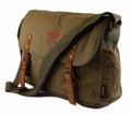"Amik ""Edendale"" Vintage Military Canvas Messenger Bag with Leather - Green"