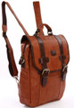 """Miami"" Two Toned Vintage Leather Men's Hybrid Backpack Crossbody Bag"