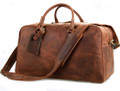 """Buffalo 2"" Full  Grain Leather Overnight Duffel Bag - Distressed Tan"