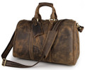 """Lyon 2"" Full Grain  Leather Duffel Carryall Bag - Distressed Tan"