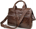 """Dusseldorf 2"" Men's Trendy Vintage Leather Crossbody Messenger Bag - Medium Brown"