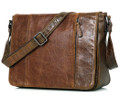 """San Jose"" Men's Vintage Leather Compact Messenger & Tablet Bag - Medium Brown"