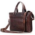 """""""Burlington 3"""" Men's Smooth Vintage Leather Messenger Tote Bag  - Dark Brown"""