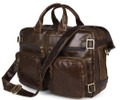 """Rome"" Men's Vintage Leather Convertible Backpack & Soft Briefcase - Natural Brown"