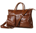 """Valencia"" Soft Vintage Leather Overnight Tote Bag - Brown"