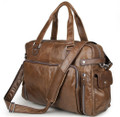 """Martha's Vinyard"" Men's Large Soft Leather Overnight Tote Bag - Brown"