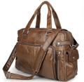 """Martha's Vinyard"" Men's Large Soft Leather Overnight Tote Bag - Brown"