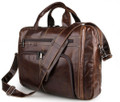 """Karachi"" Men's Large Soft Leather Overnight Tote Bag - Dark Brown"