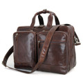 """Wakefield"" Men's Expandable Vintage Leather Overnight Laptop Bag - Dark Brown"