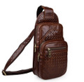 """Lacona"" Weave Leather Single Shoulder Sling & iPad Tablet Bag - Brown"