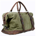 """Cabo"" Retro Military Canvas Carryall Tote Bag with Leather Straps - Green"