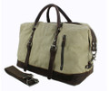 """Cabo"" Retro Military Canvas Carryall Tote Bag with Leather Straps - Light Khaki Tan"