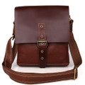 """Vilano 2"" Men's Vintage Leather Compact Messenger & Tablet Bag - Brown"