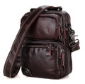 """Milagro"" Men's Soft Leather Compact Shoulder Satchel - Vintage Brown"