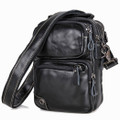 """Milagro 2"" Men's Soft Leather Compact Shoulder Satchel - Black"