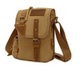 """Morro Bay 3"" Vintage Canvas and Leather Shoulder Satchel - Khaki Tan"