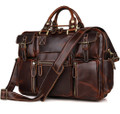 """Connery 2"" Men's Smooth Distressed Leather Portfolio Briefcase - Brown"