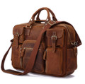 """Calgary 3"" Men's Rough Distressed Leather Briefcase - Rust Brown"