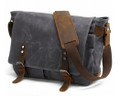 """Vagabond"" Men's Rugged Distressed Canvas & Leather Crossbody Messenger Bag - Grey"