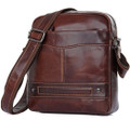 """Minnetonka"" Men's Soft Leather Compact Messenger Bag - Rust Brown"