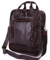 """Dortmund"" Men's Vintage Leather Convertable Tall Briefcase & Backpack"