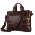 """Burlington 4"" Men's Smooth Vintage Leather Messenger Tote Bag  - Dark Brown"