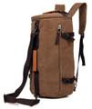 """Kingston"" Men's Convertable Duffel Travel Bag & Backpack - Khaki Brown"