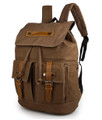 """Bonn"" Canvas & Leather Rugged Day Backpack - Brown"