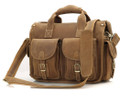 """Corpus Christi 2"" Men's Full Grain Leather Messenger Bag & Briefcase - Tan"