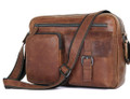 """Orenburg"" Men's Vintage Leather Crossbody Messenger Bag - Brown"