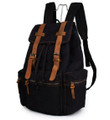 """Costa Azul"" Vintage Canvas & Leather Rugged Day Backpack - Black"