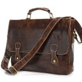 """Kiev"" Trendy Vintage Leather Messenger Bag & Briefcase"