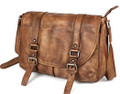 """Riga"" Men's Top Grain Vintage Leather Messenger Bag - Cowboy Brown"