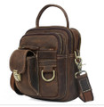 """Timbuktu 2"" Men's Full Grain Leather Urban Satchel Bag - Dark Brown"