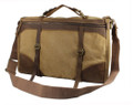"""Rucos"" Retro Canvas Carryall Tote Bag with Leather Straps - Khaki Tan"