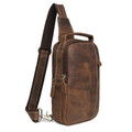 """Cali"" Top Grain Leather Single Shoulder Chest Bag - Distressed Brown"