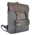 "Linshi Tasks ""Ponto"" Men's Trendy Canvas Backpack with Leather Flap & Straps - Grey"