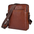 """Preston"" Men's Soft Leather Compact Messenger Bag - Rust Brown"