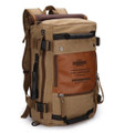 """Patagonia"" All-purpose Canvas & PU Leather Day Backpack - Khaki Brown"