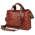 """Bangkok 2"" Classic Distressed Vintage Leather Messenger Bag - Rust Brown"