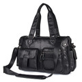 """Devon"" Men's Large Soft Leather Overnight Travel Tote Bag - Black"