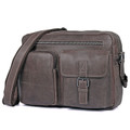 """Orenburg"" Men's Vintage Leather Crossbody Messenger Bag - Taupe Brown"