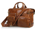 """Rome"" Men's Vintage Leather Convertible Backpack & Briefcase - Brown"