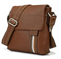 """Valencia"" Men's Striped Leather Vertical Messenger Bag"