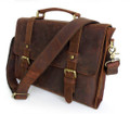 """San Fran"" Men's Full Grain Leather Compact Messenger Bag - Dark Brown"