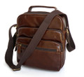 """Kolkata"" Men's Leather Compact Vertical Messenger Bag"