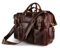 """Connery"" Men's Smooth Full Grain Leather Portfolio Briefcase - Red Brown"