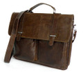 """Savannah"" Men's Vintage Leather Portfolio Messenger Bag"