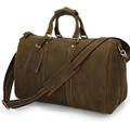 """Lyon"" Full Grain Thick Leather Duffel Carryall Bag"